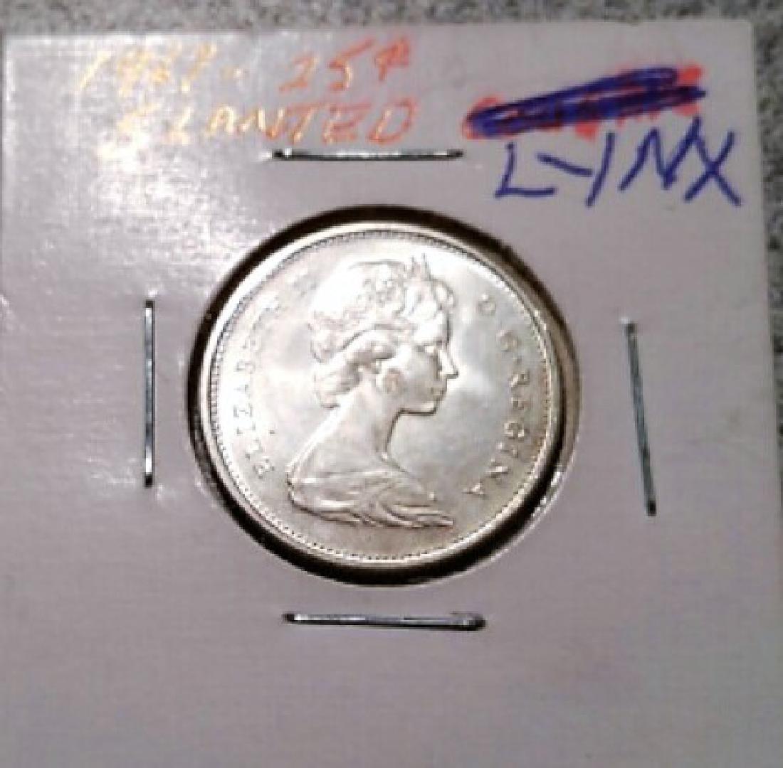 Rotated Die Error 15 deg. 1967 Canadian 25 cent