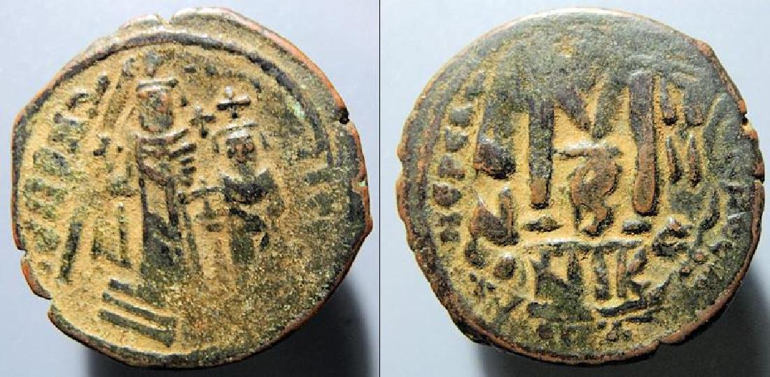 Heraclius with Heraclius Constantine 610-641 AD follis