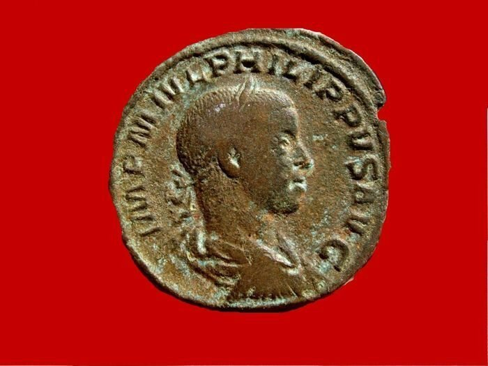 Roman Empire Philip II 247-249 A.D. bronze sestertius