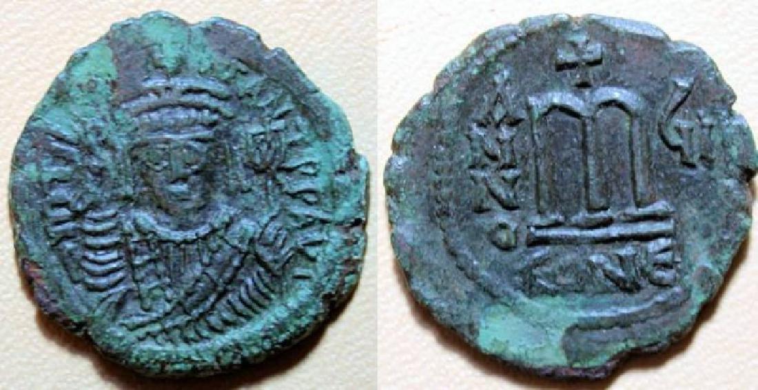 Byzantine AE follis, Maurice Tiberius, sharp!!