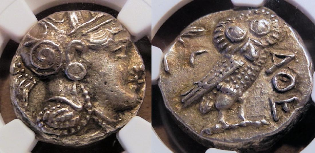 Greek Owl Attica Athens 393-294 B.C. silver tetradrachm