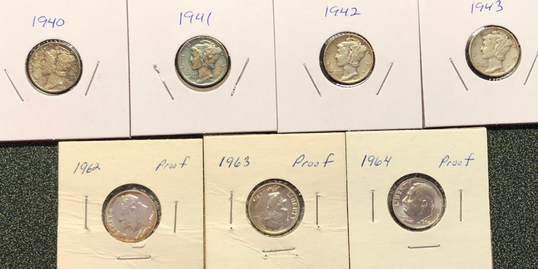 3-Proof Roosevelt Dimes; 4 Mercury Dimes