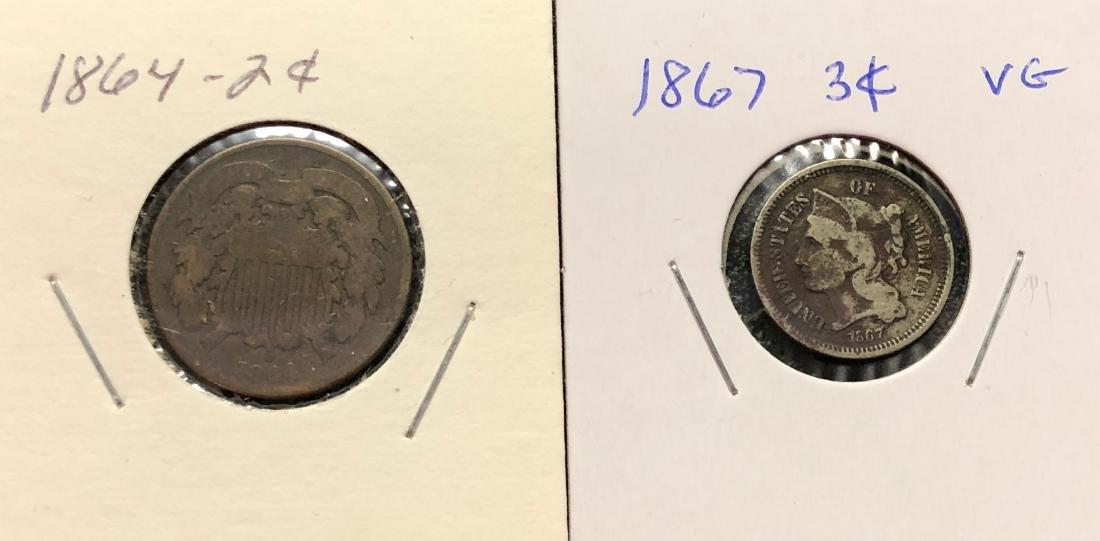 1864 - 2 cent & 1867 - 3 cent