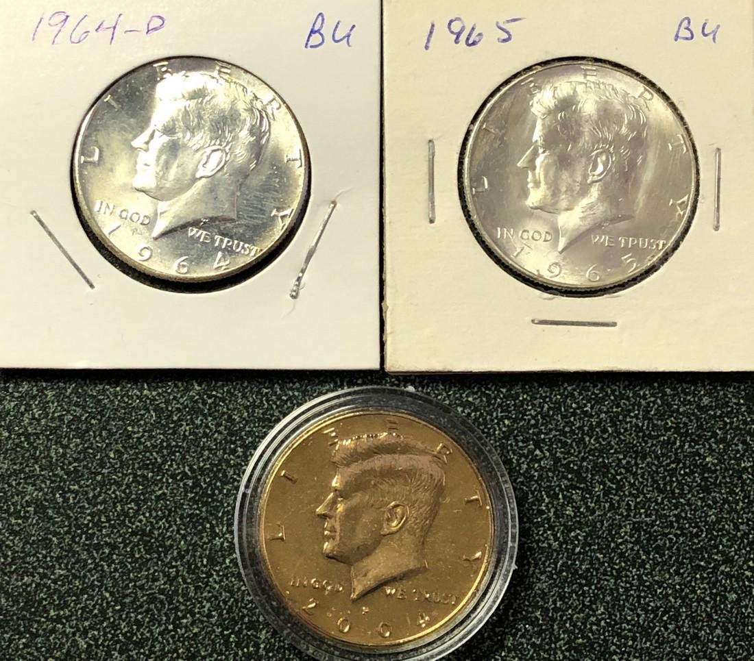 3-Kennedy Half Dollars: 1964; 1965; 1 Gold Plated 2004
