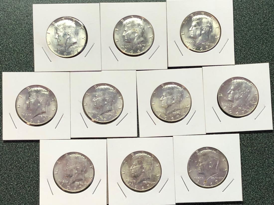 10-1967 Kennedy Silver Clad Half Dollars
