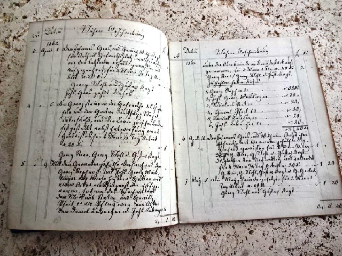 1862 Manuscript German Ledger w/ Papers Documents