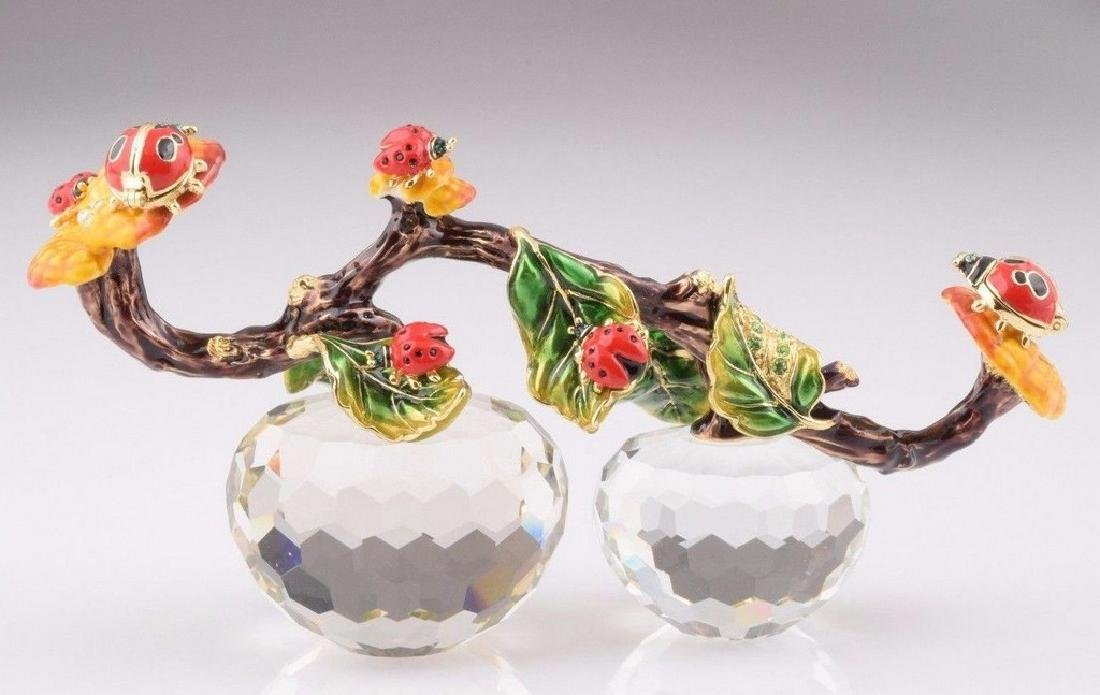 Fabergé Style Crystal Apples & Beetles Trinketboxes