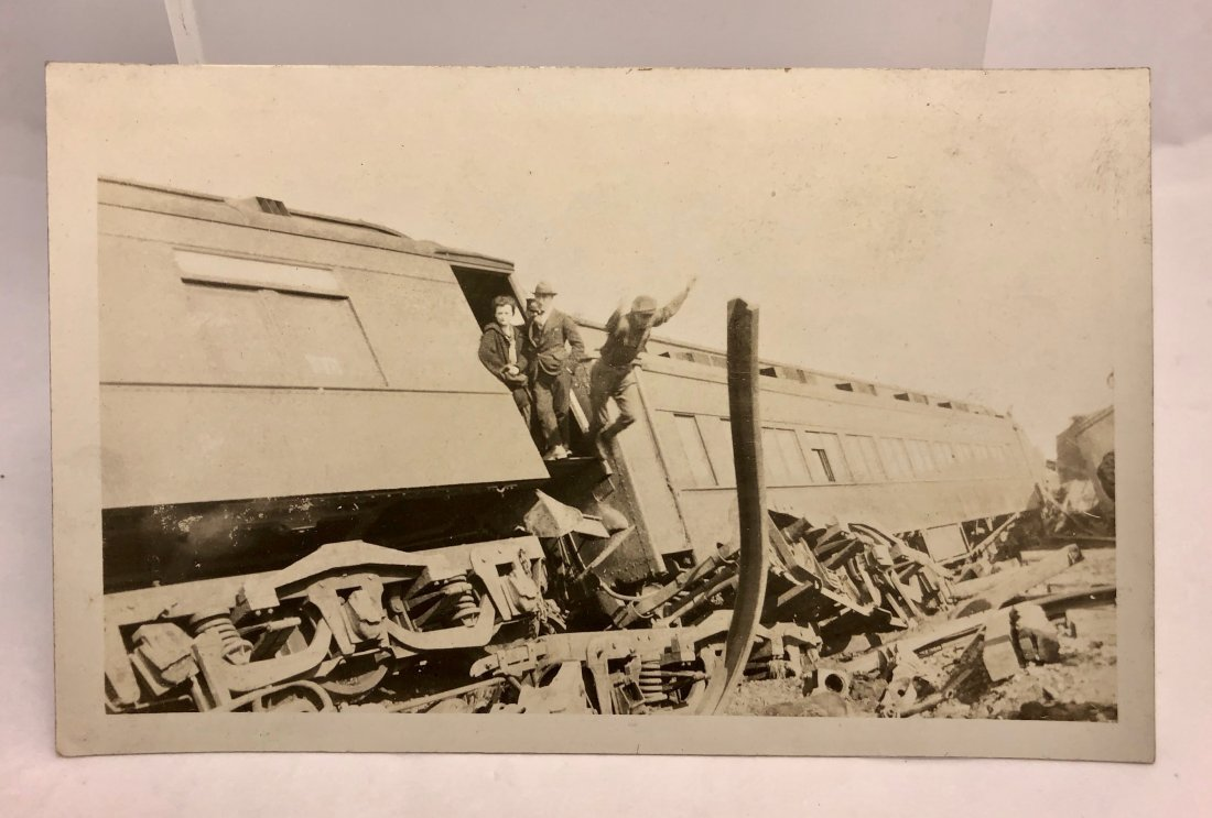 Vintage 1915 Dramatic Man Train Wreck Jump Action Photo