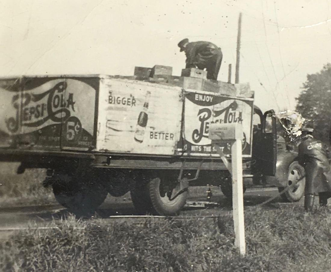 Vintage 1930s Pepsi Soda Sign Delivery Truck Photo