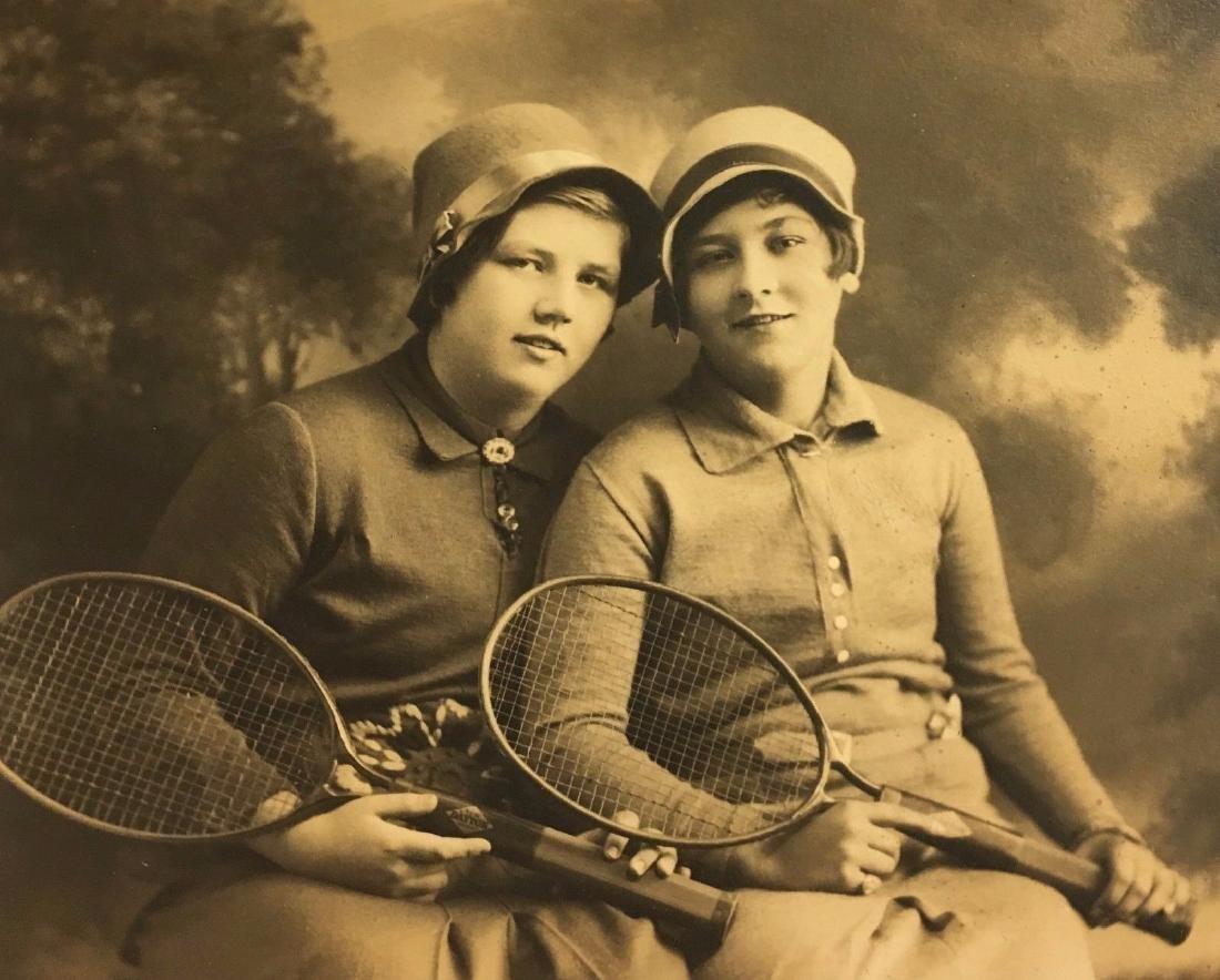 Antique 1920s Sporty Flapper Sisters Tennis Photo