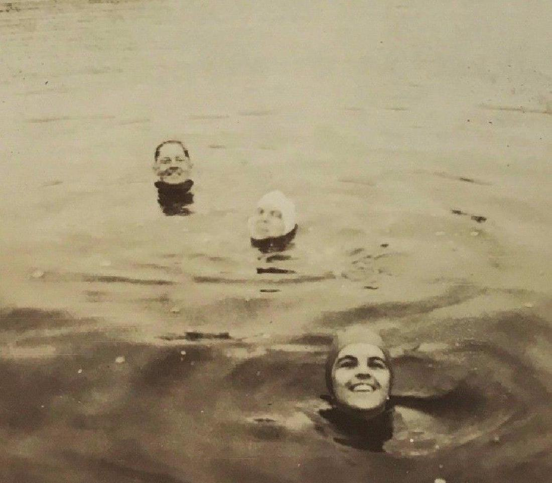 Antique 1930s Fantastic Poking Heads Swimming Art Photo