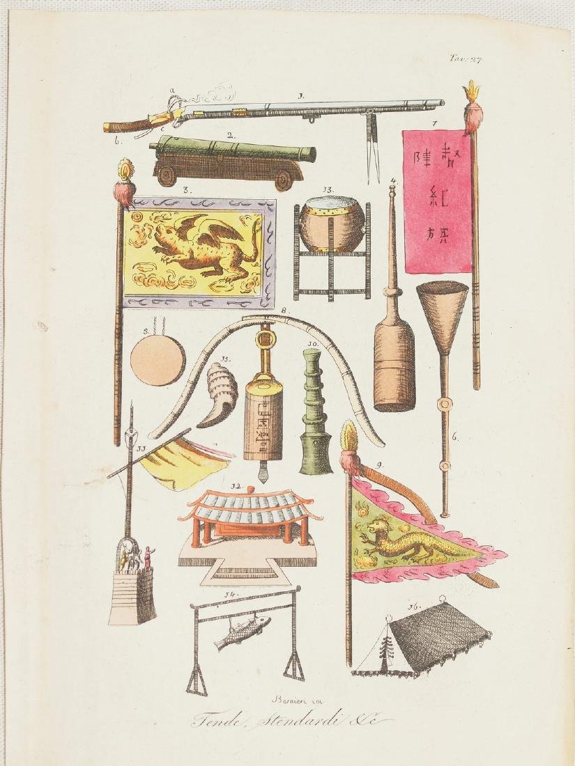 Chinese Flags, Pots, Temple Items, Weapons 1825 Etching