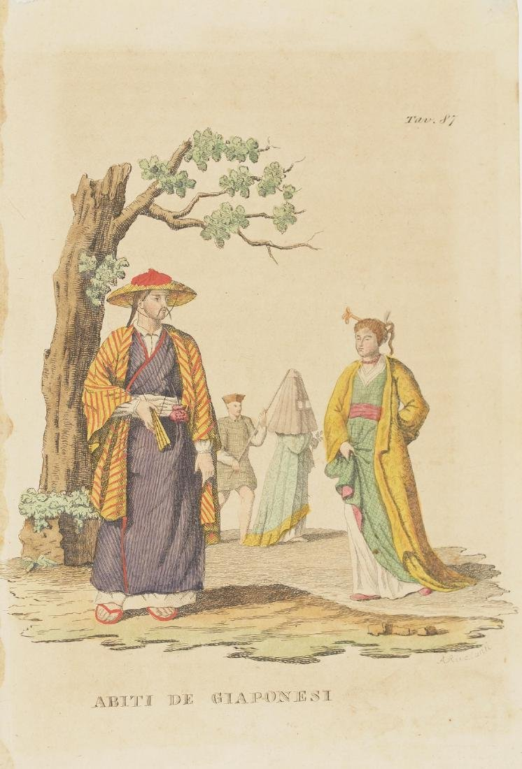 Costumes Japanese Man and Woman 1870 Chromolithograph