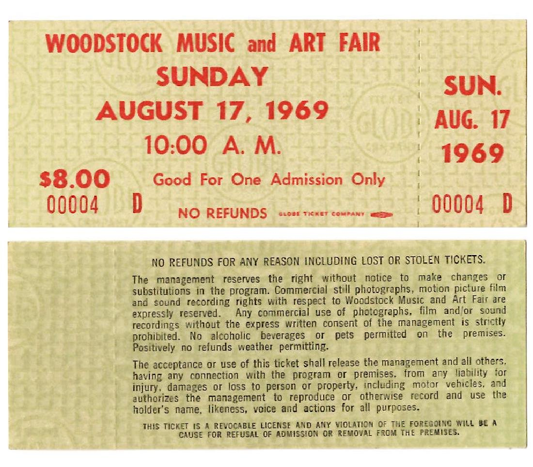 WOODSTOCK TICKET #4 - THE LOWEST # WE HAVE EVER SEEN