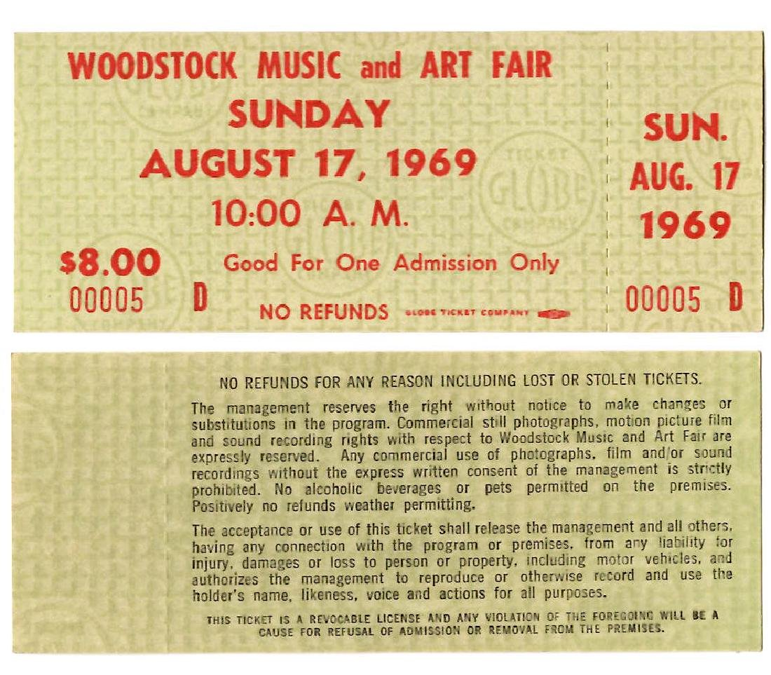 WOODSTOCK TICKET #5 - THE LOWEST # WE HAVE EVER SEEN