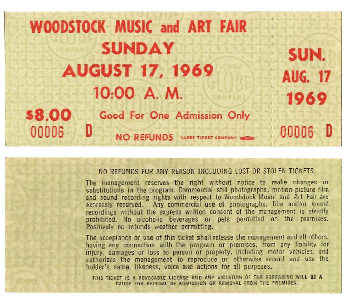 WOODSTOCK TICKET #6 - THE LOWEST # WE HAVE EVER SEEN
