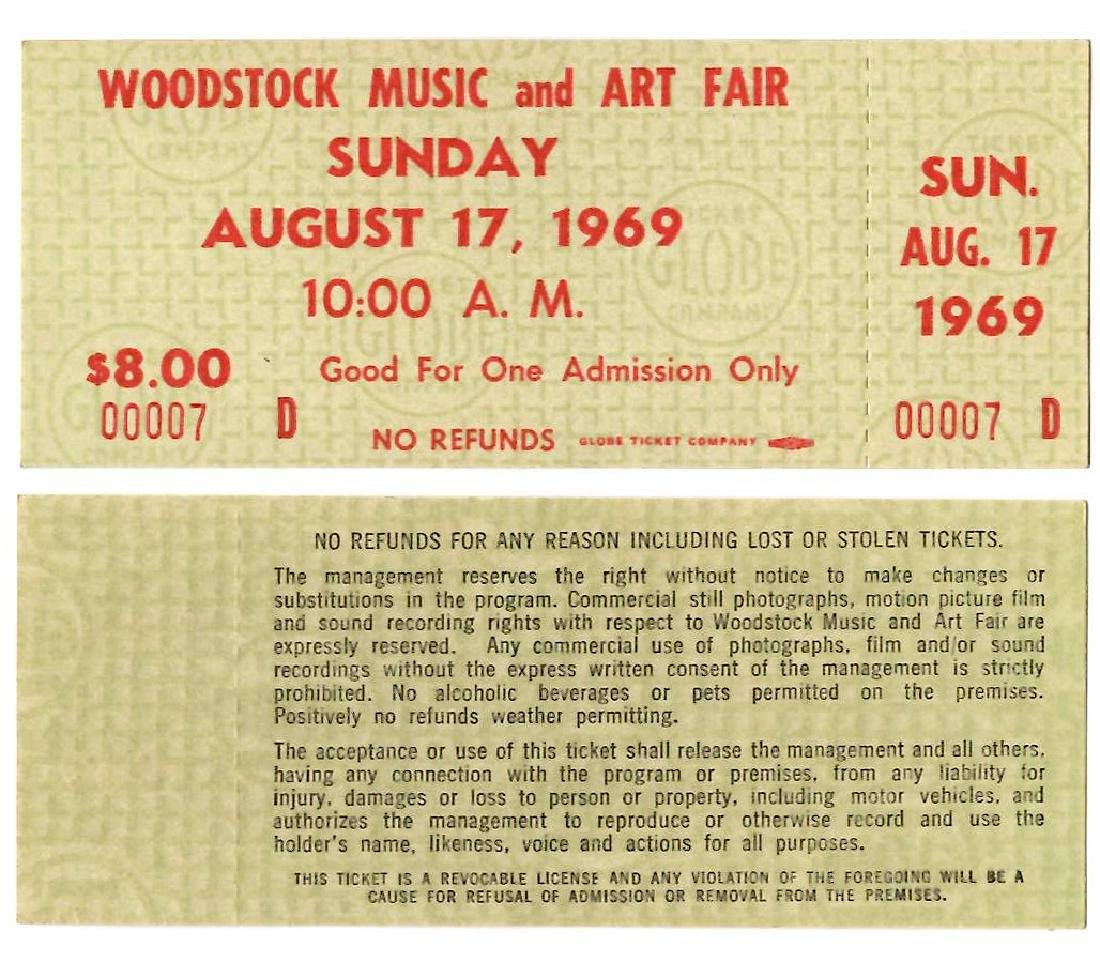 WOODSTOCK TICKET #7- THE LOWEST # WE HAVE EVER SEEN