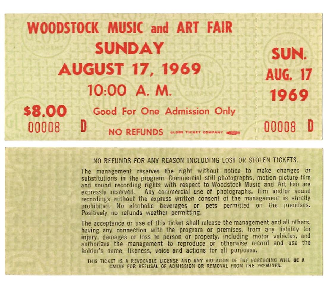 WOODSTOCK TICKET #8- THE LOWEST # WE HAVE EVER SEEN