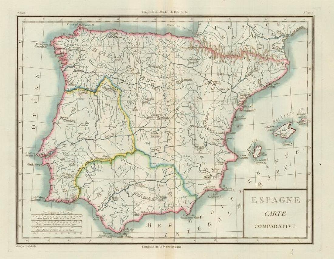 Mentelle/Chanlaire: Antique Map of Iberia, 1798