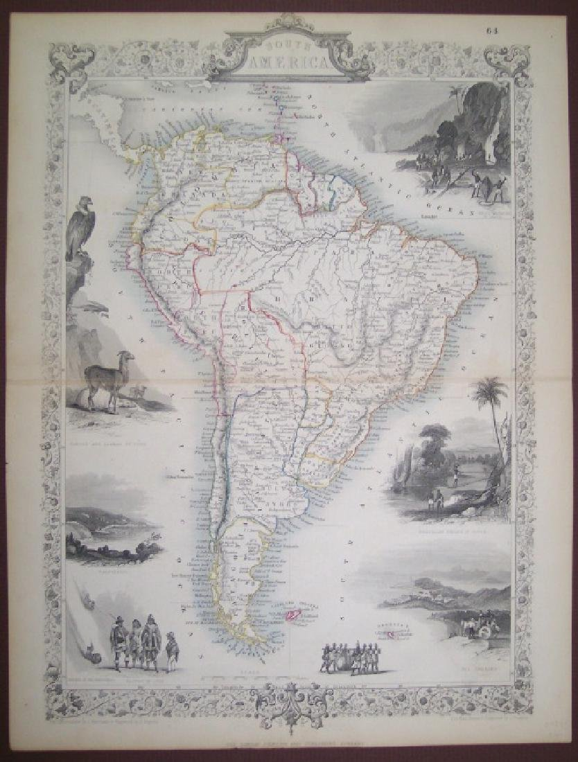 Tallis: Antique Map of South America, 1865