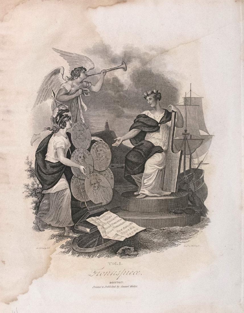 Antique 1834 Frontispiece of Malte-Brun Atlas