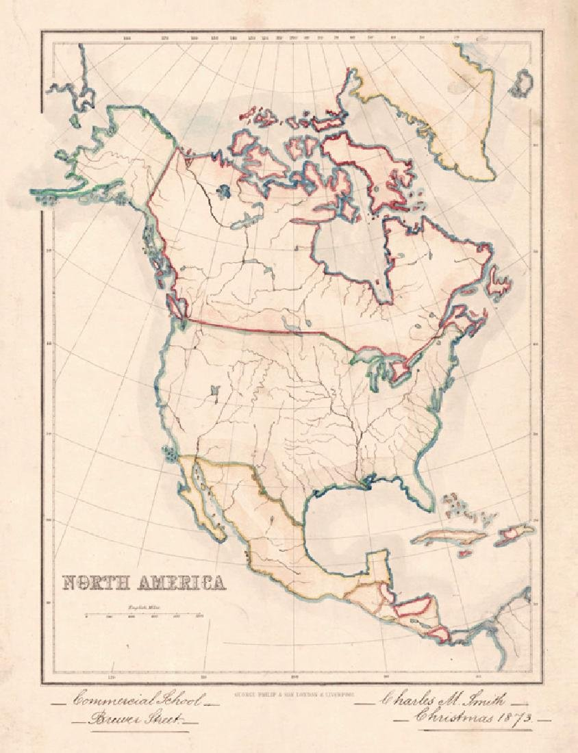 Smith: Antique Map of North America | Africa, 1873