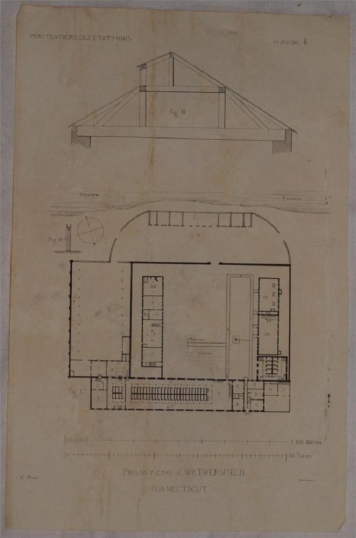 Map Prison Wethersfield Connecticut 1841 Demetz