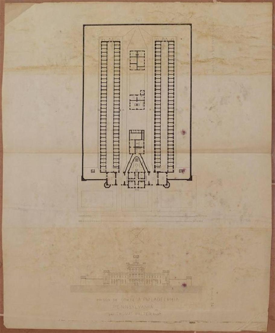 Map Prison Philadelphia Pennsylvania 1841 Demetz