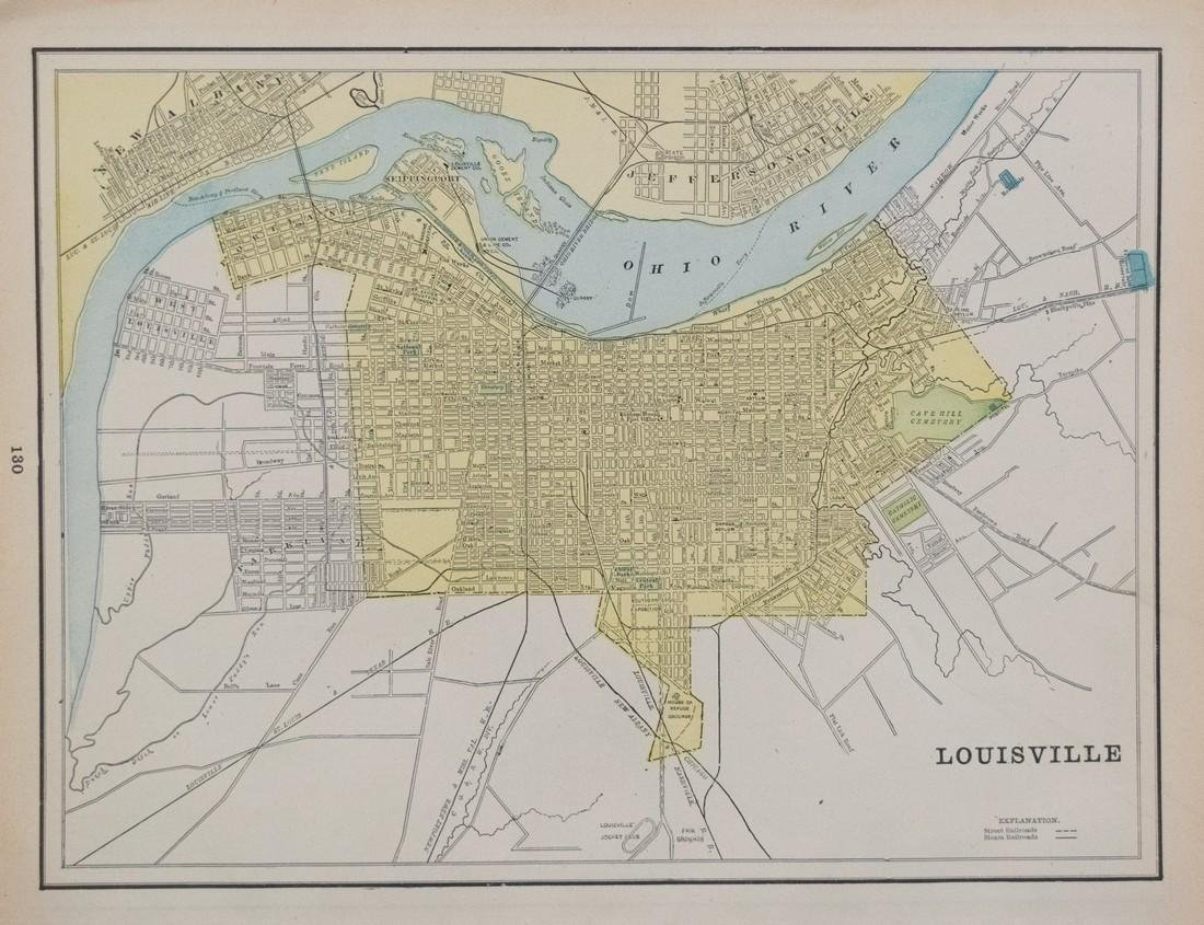 1897 Cram's Map of Louisville verso Indianapolis