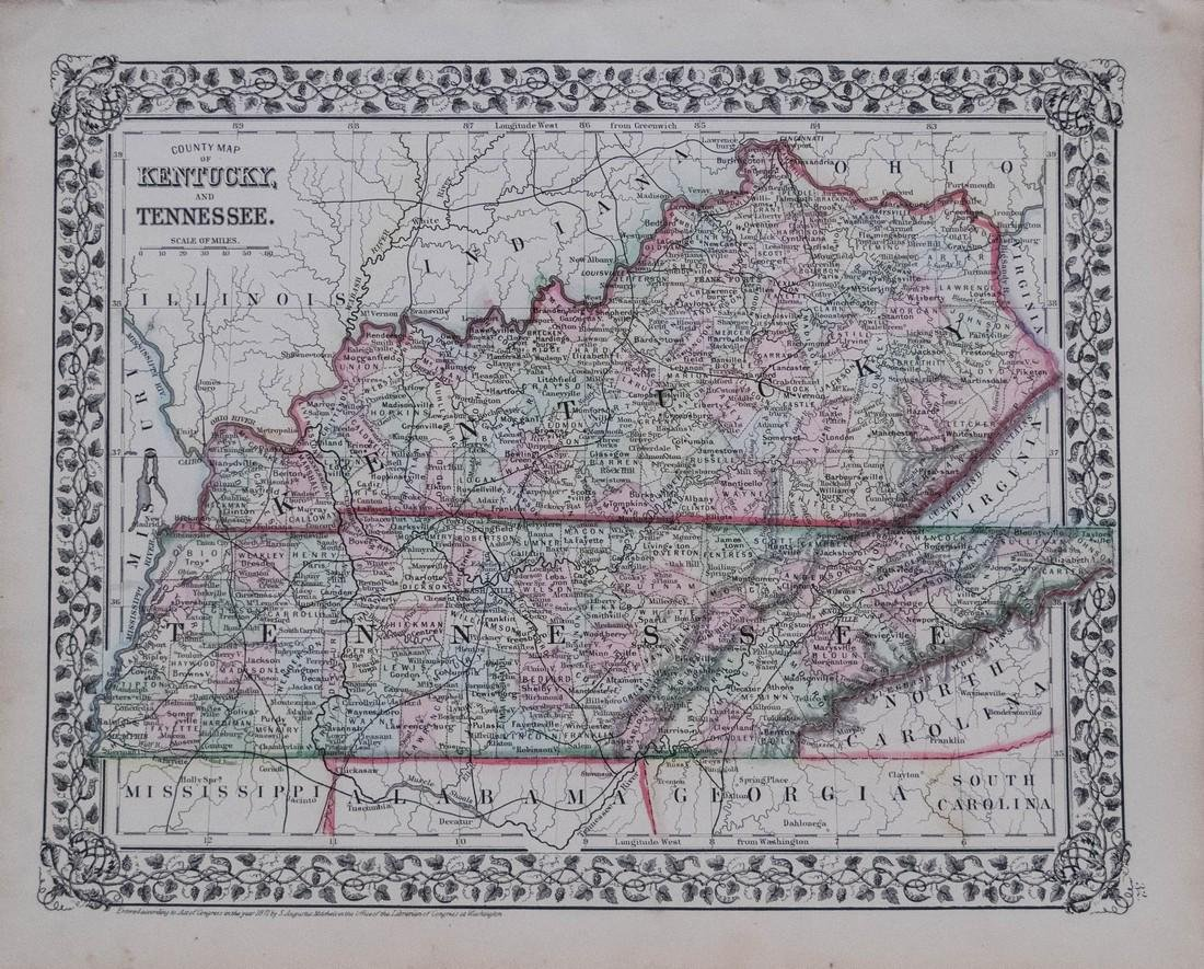1871 Mitchell Antique Map of Kentucky and Tennessee