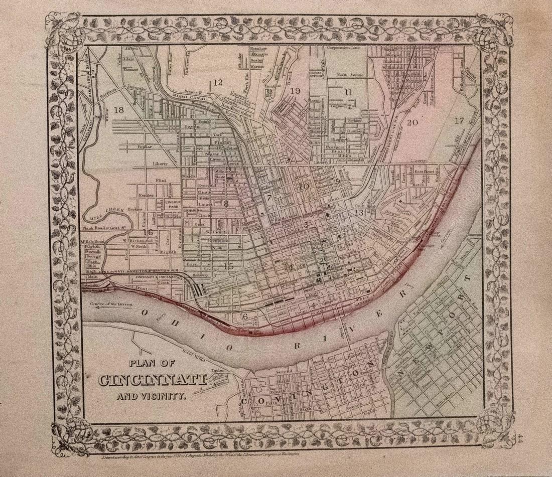 1872 Mitchell Antique Map of Cincinnati