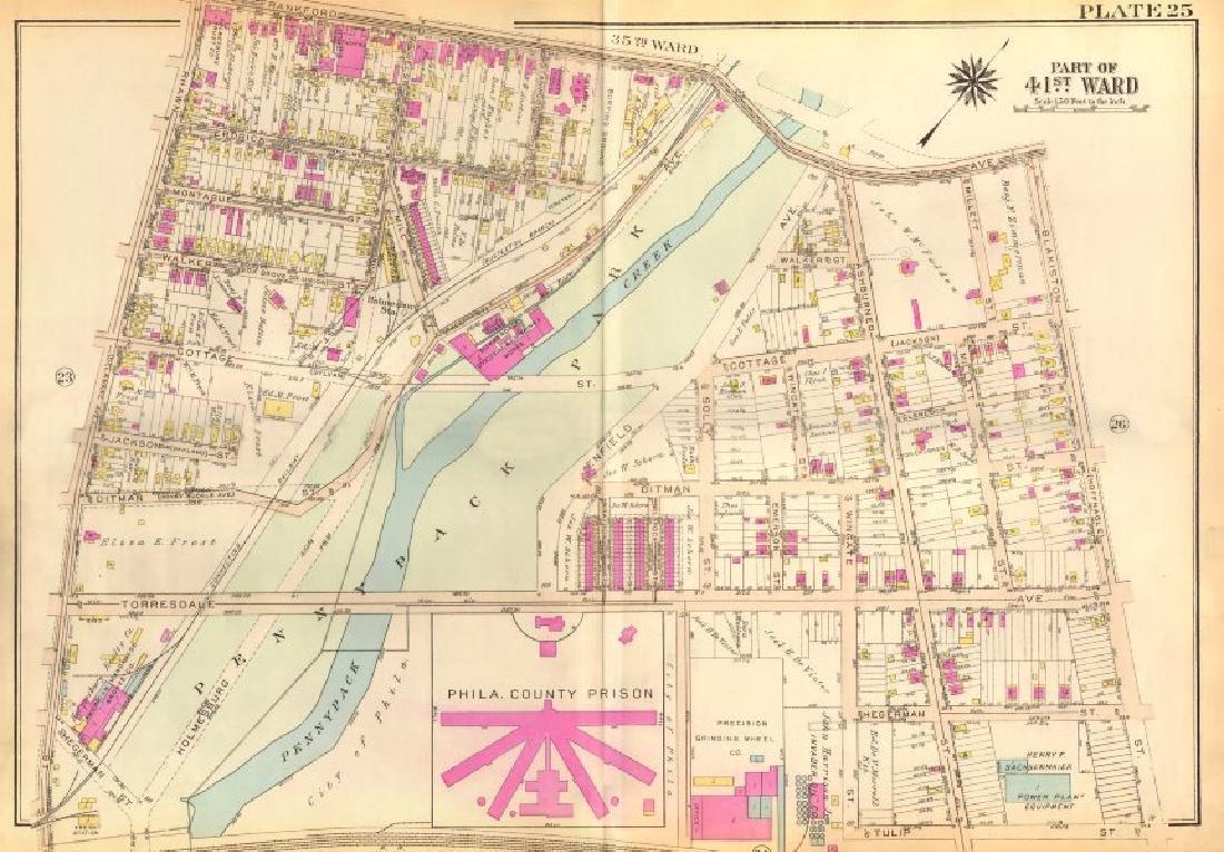 Bromley: Vintage Map of PHILADELPHIA. Holmesburg.