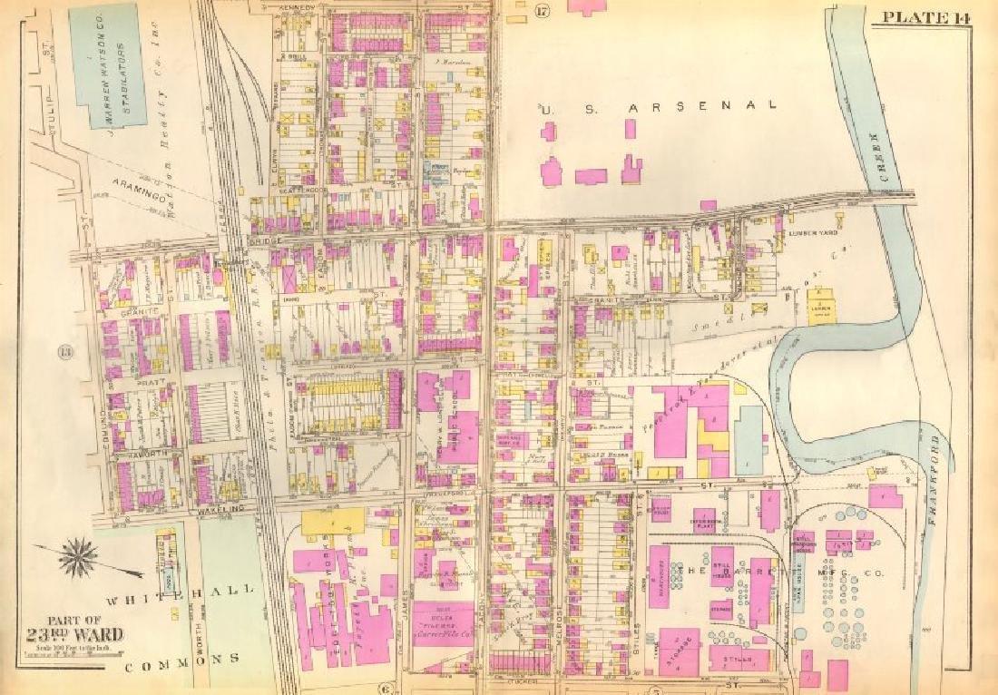 Bromley: Vintage Map of PHILADELPHIA. Frankford.