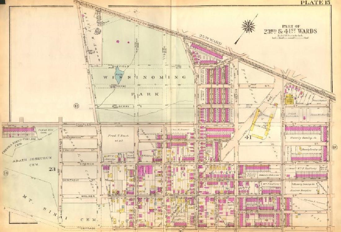 Bromley: Vintage Map of PHILADELPHIA. Wissinoming.