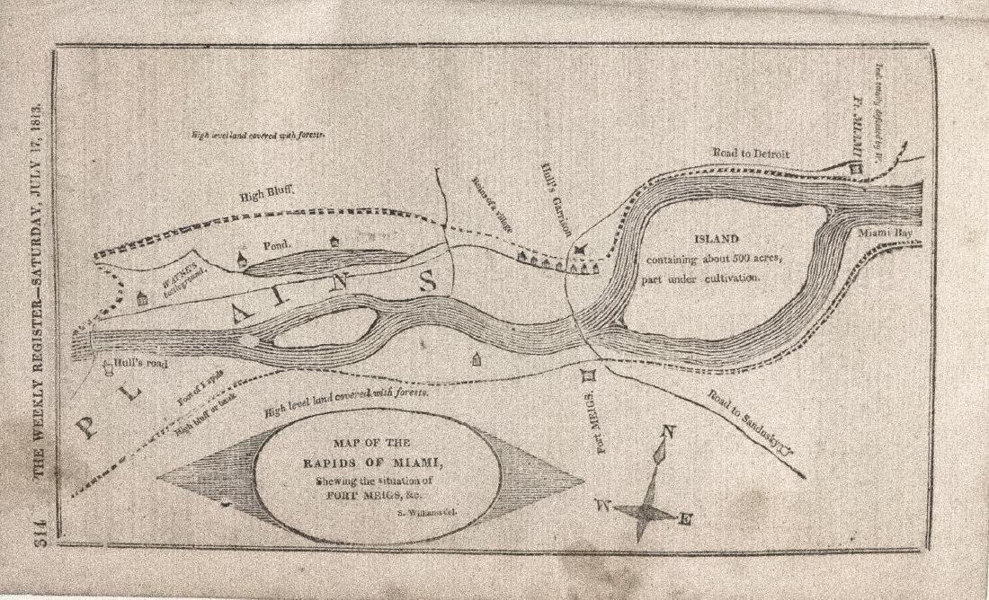 1813 Antique Map of the Rapids of the Miami River