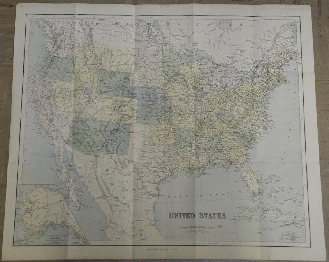 Antique map of the United States, 1881