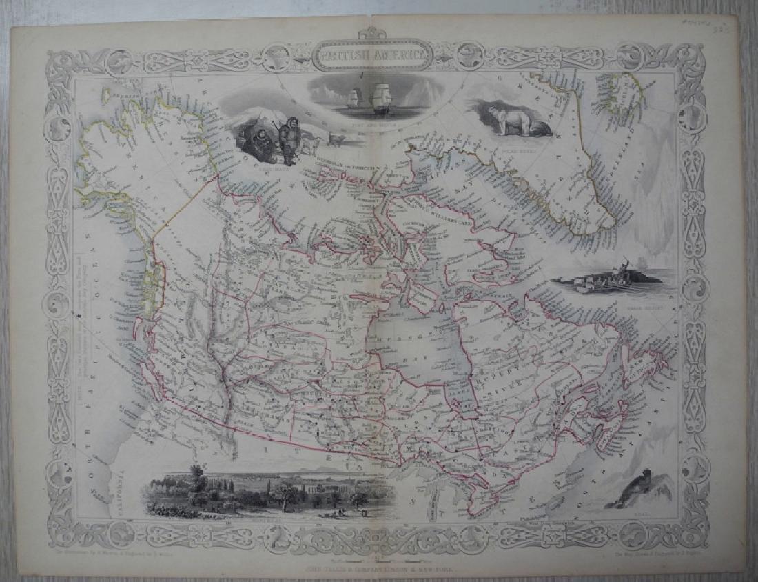 Tallis: Antique Map of British America, 1865