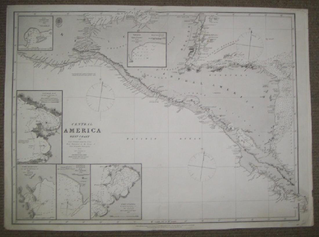Antique Map of Central America West Coast, 1863