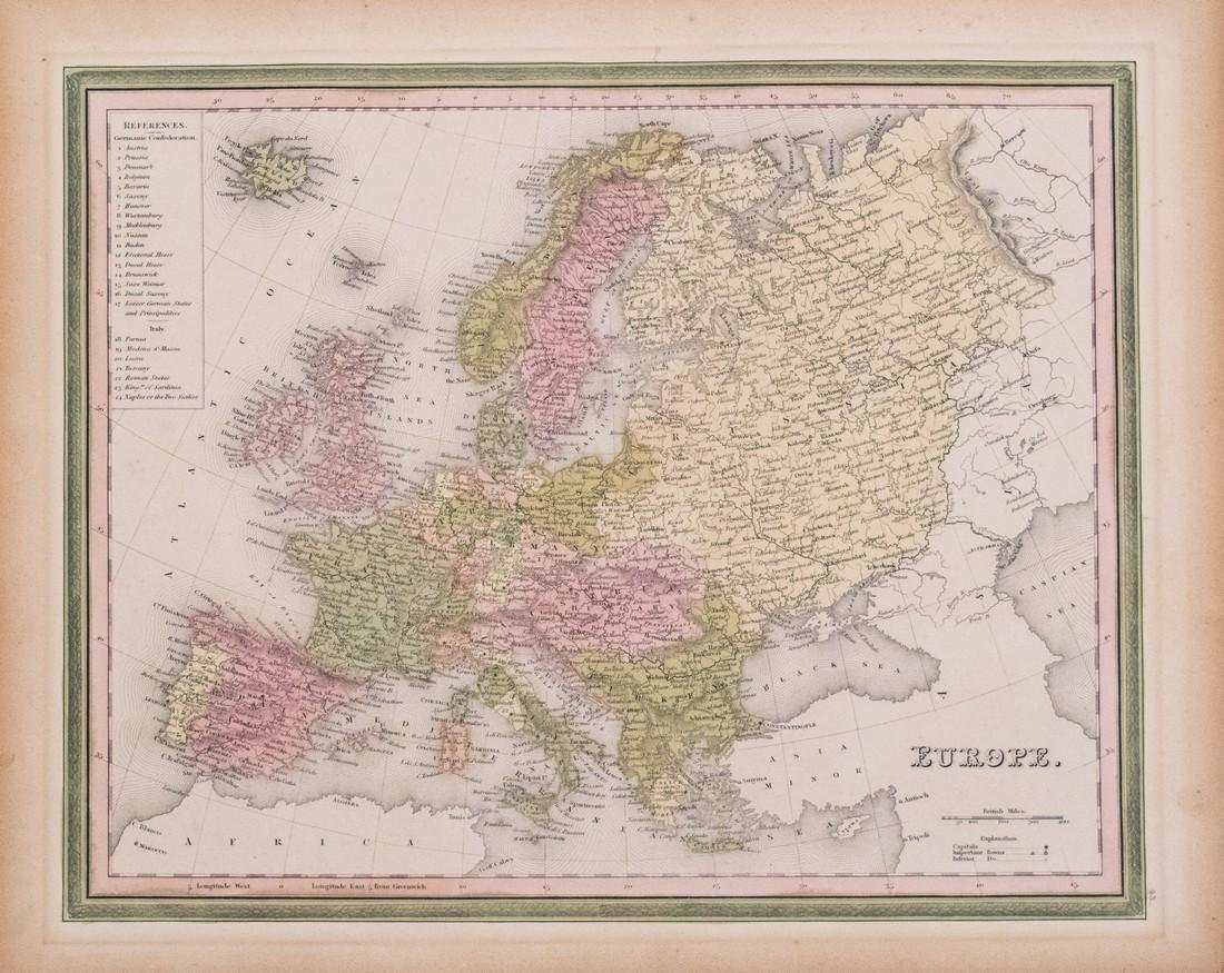 1836 Tanner Antique Map of Europe