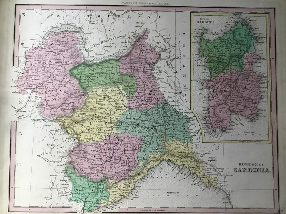 Tanner: Map of NW Italy. Piedmont with Sardinia 1843