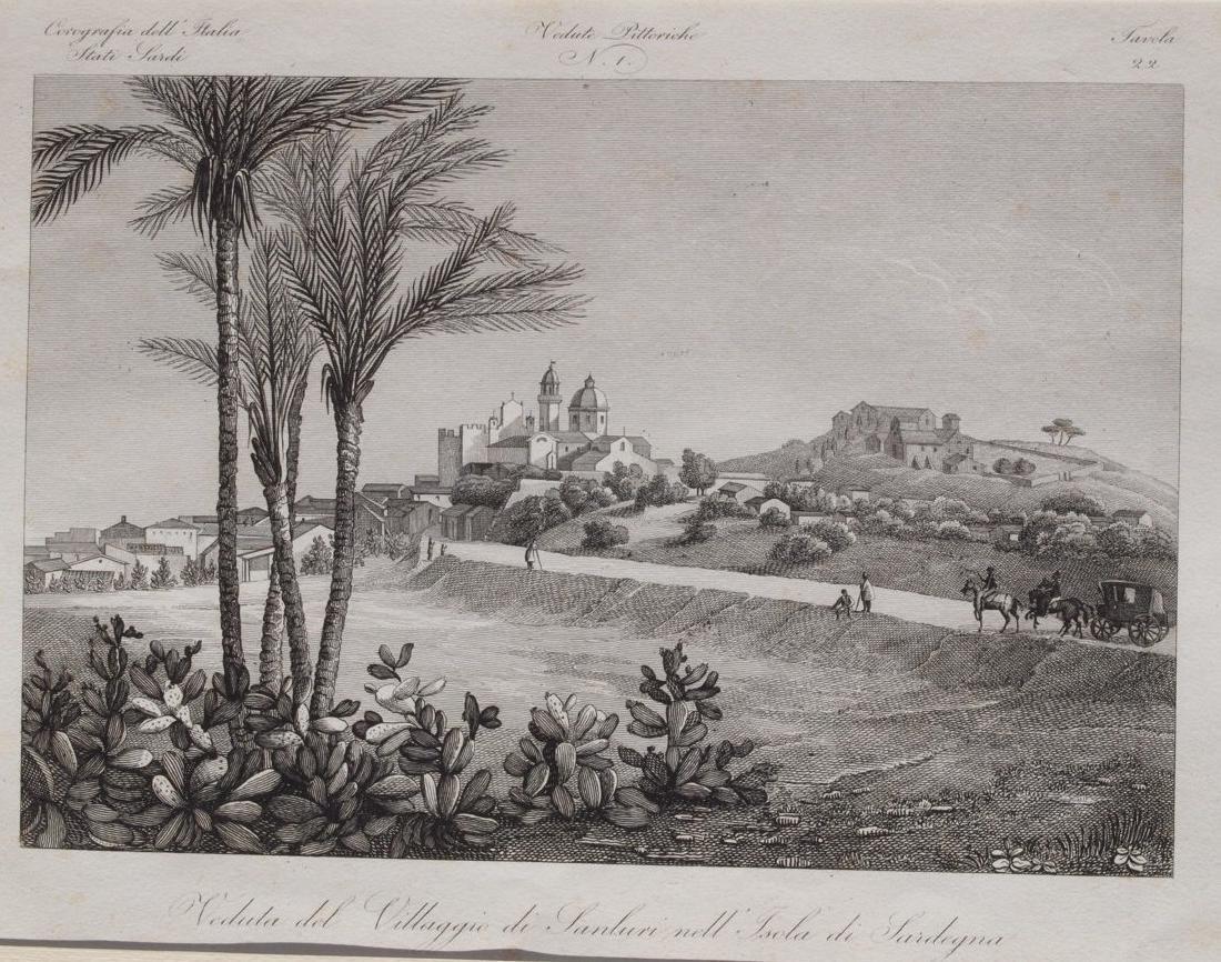Sanluri Sardinia Zuccagni Orlandini 1842-45 etching