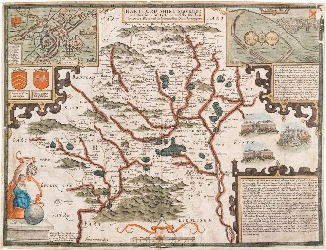 1660 c. Speed Antique Map of Hertfordshire, UK