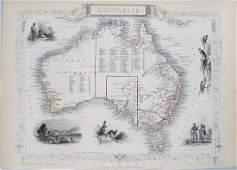 1850 Tallis Antique Map of Australia