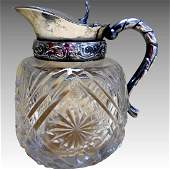 Antique Victorian Crystal Syrup Pitcher, 1880