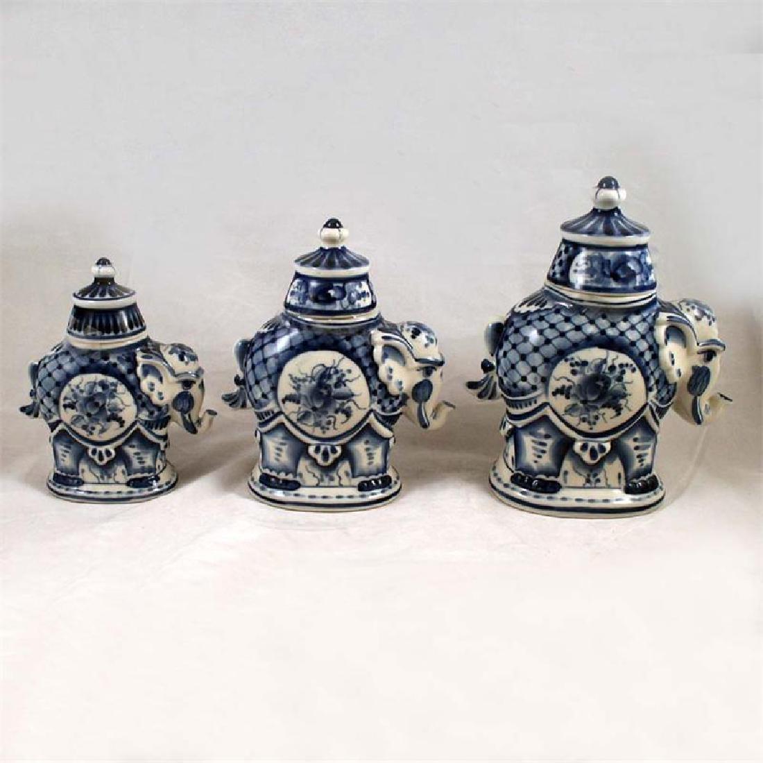 "Set of Brilova Ceramic Jars ""Elephants"""