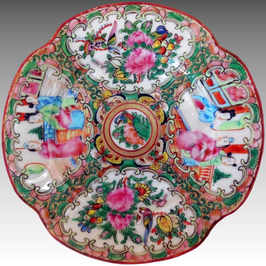 Chinese Rose Medallion Quatrefoil Plate