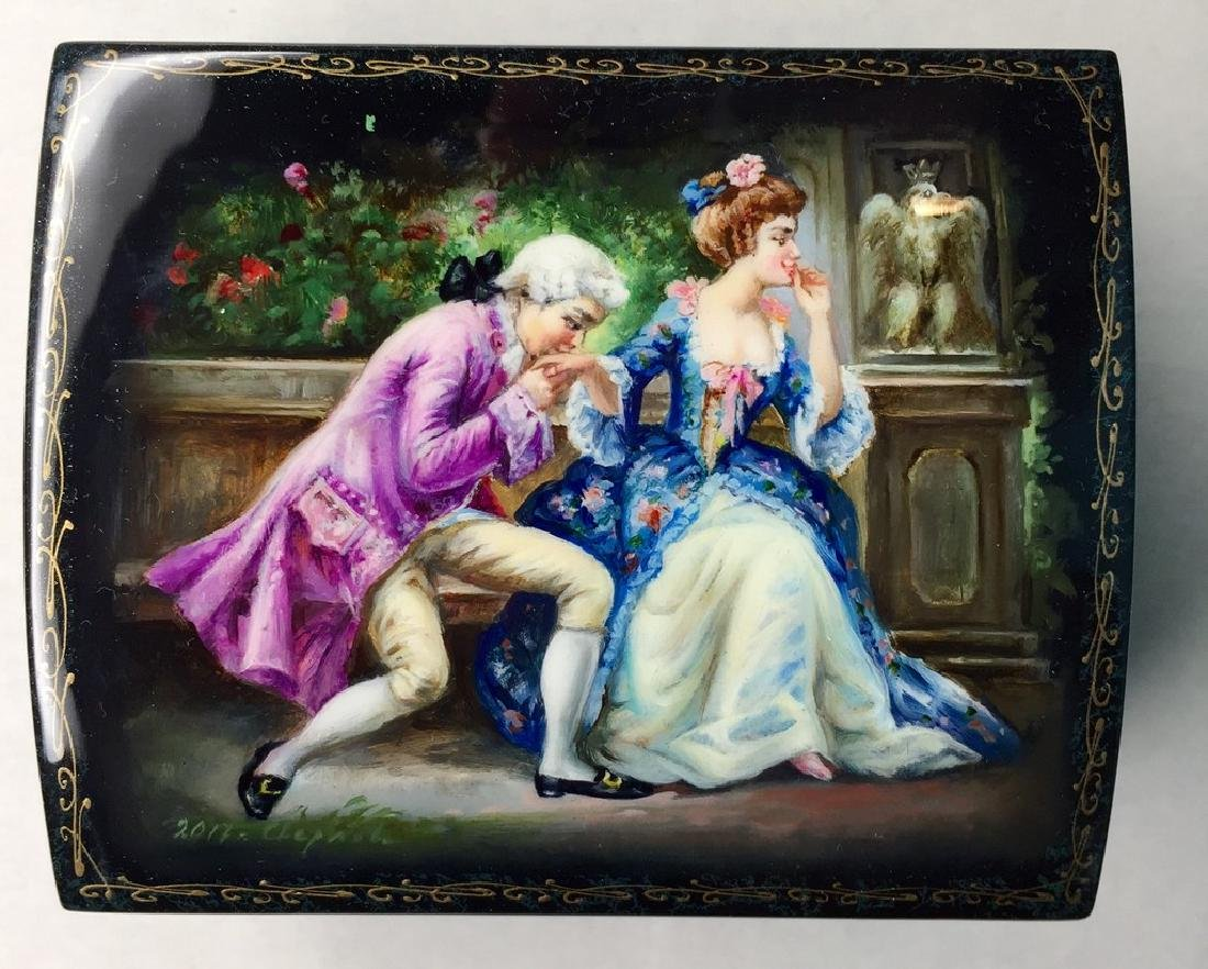 Russian erotic lacquer miniature on paper mâché box