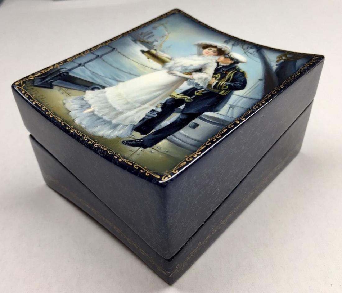 Russian erotic lacquer miniature on paper mâché box.