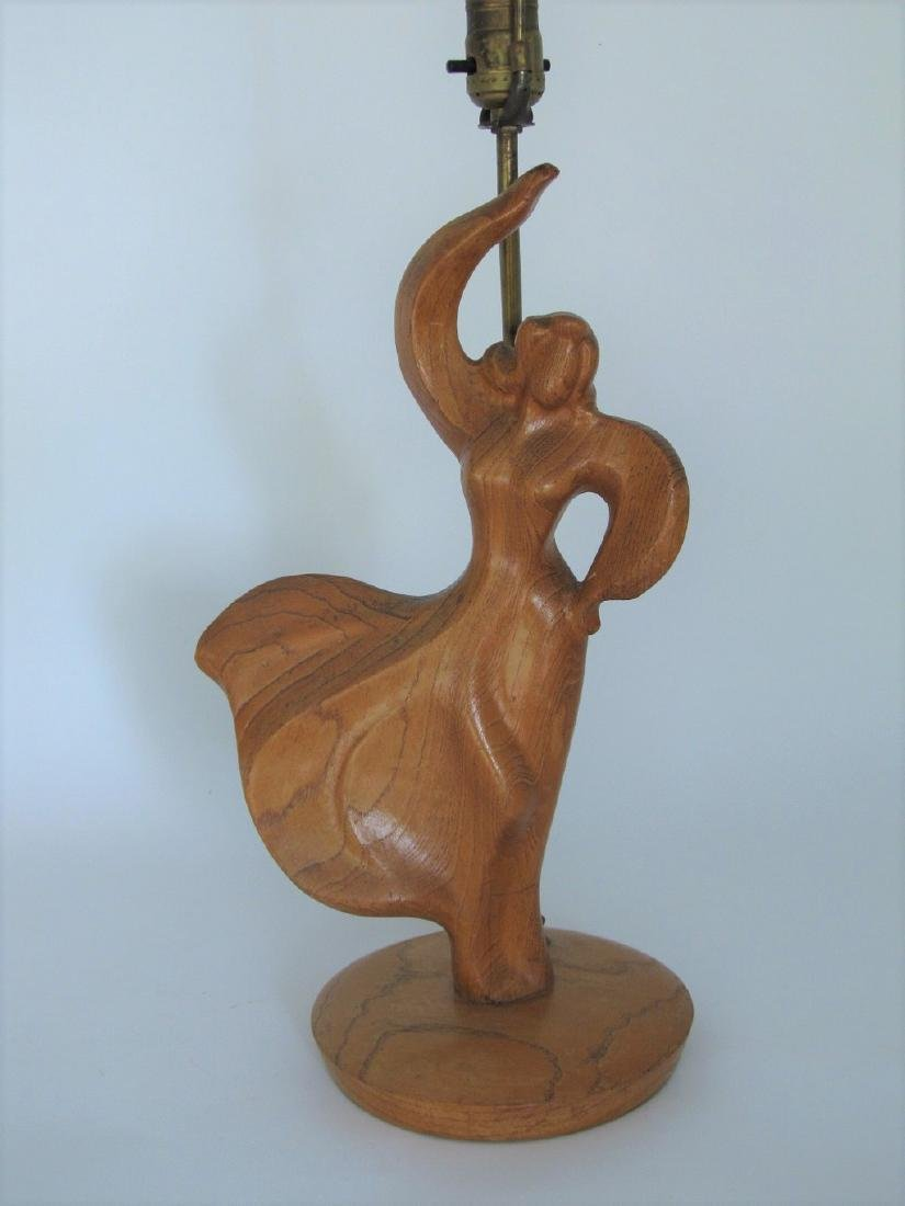 Female Dancer Carved Wood Lamp in the Manner of Heifetz