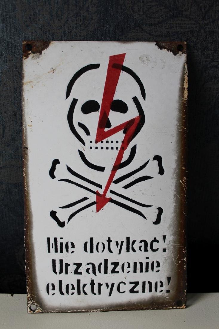 """Enamelled Sign """"Nie dotykac!, Urzadzenie elektryczne! /"""